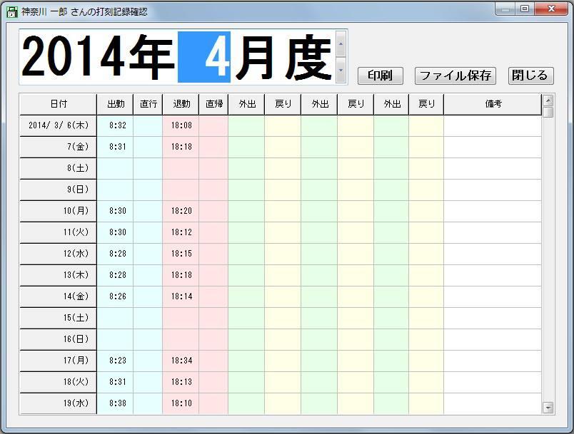 一般機能として挙げられる画面イメージで、2014年4月度の神奈川一郎さんの打刻状況をサンプルとした打刻の状況画像であり、その中には印刷・ファイル保存・閉じるボタンが備わっている事を説明する画像